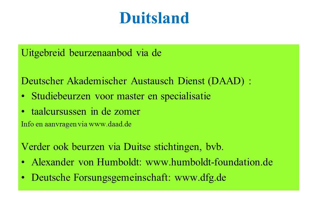 Duitsland Uitgebreid beurzenaanbod via de Deutscher Akademischer Austausch Dienst (DAAD) : Studiebeurzen voor master en specialisatie taalcursussen in de zomer Info en aanvragen via www.daad.de Verder ook beurzen via Duitse stichtingen, bvb.