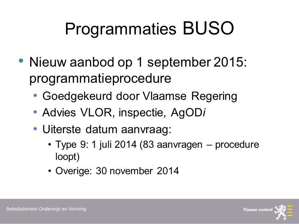 Programmaties BUSO Nieuw aanbod op 1 september 2015: programmatieprocedure Goedgekeurd door Vlaamse Regering Advies VLOR, inspectie, AgODi Uiterste da