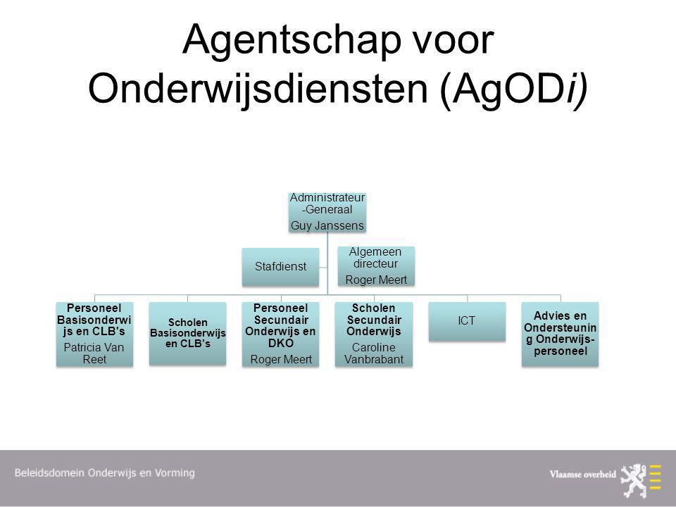 Agentschap voor Onderwijsdiensten (AgODi) Administrateur -Generaal Guy Janssens Personeel Basisonderwi js en CLB's Patricia Van Reet Scholen Basisonde