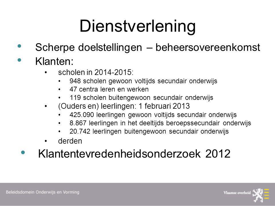 Dienstverlening Scherpe doelstellingen – beheersovereenkomst Klanten: scholen in 2014-2015: 948 scholen gewoon voltijds secundair onderwijs 47 centra