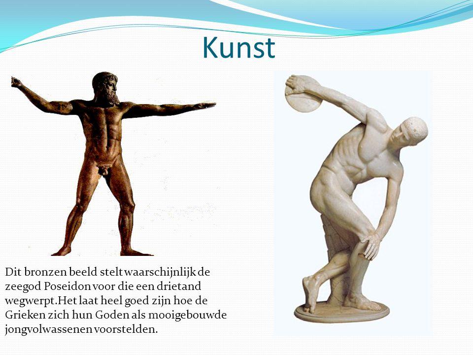 Kunst Dit bronzen beeld stelt waarschijnlijk de zeegod Poseidon voor die een drietand wegwerpt.Het laat heel goed zijn hoe de Grieken zich hun Goden als mooigebouwde jongvolwassenen voorstelden.