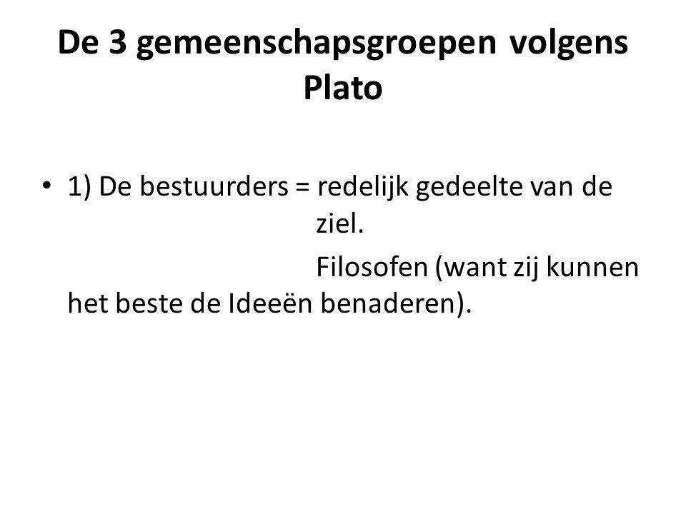 De 3 gemeenschapsgroepen volgens Plato 1) De bestuurders = redelijk gedeelte van de ziel.