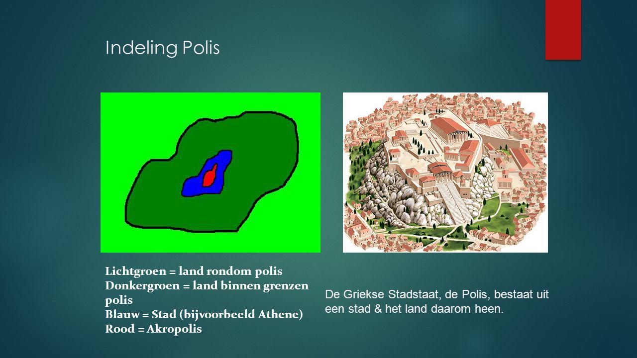 Indeling Polis Lichtgroen = land rondom polis Donkergroen = land binnen grenzen polis Blauw = Stad (bijvoorbeeld Athene) Rood = Akropolis De Griekse S