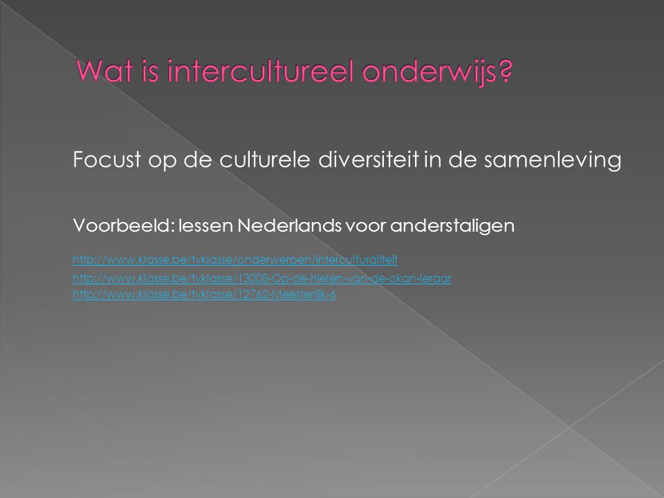 Focust op de culturele diversiteit in de samenleving Voorbeeld: lessen Nederlands voor anderstaligen http://www.klasse.be/tvklasse/onderwerpen/interculturaliteit http://www.klasse.be/tvklasse/13008-Op-de-hielen-van-de-okan-leraar http://www.klasse.be/tvklasse/12762-Meesterlijk-6