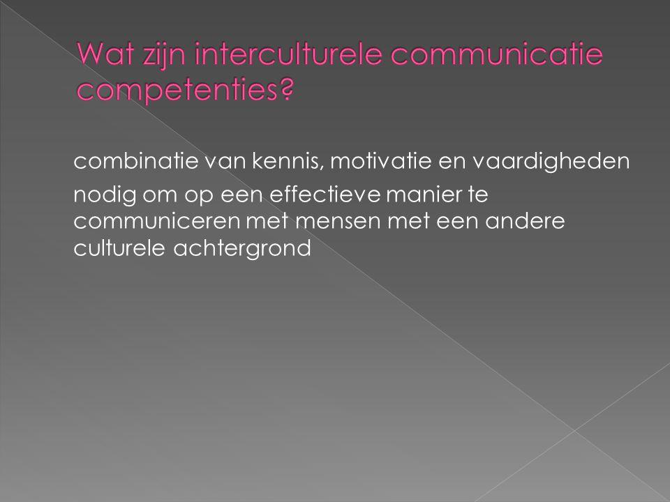 combinatie van kennis, motivatie en vaardigheden nodig om op een effectieve manier te communiceren met mensen met een andere culturele achtergrond