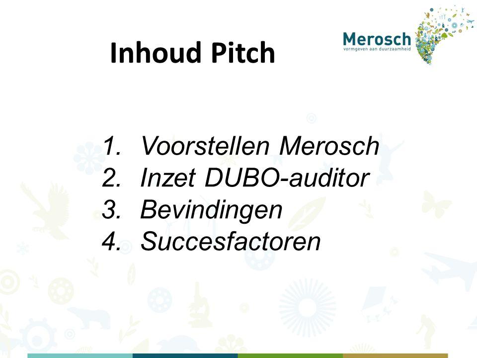 Inhoud Pitch 1.Voorstellen Merosch 2.Inzet DUBO-auditor 3.Bevindingen 4.Succesfactoren
