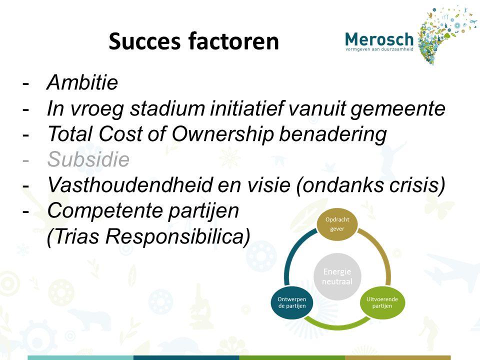 Succes factoren -Ambitie -In vroeg stadium initiatief vanuit gemeente -Total Cost of Ownership benadering -Subsidie -Vasthoudendheid en visie (ondanks crisis) -Competente partijen (Trias Responsibilica)