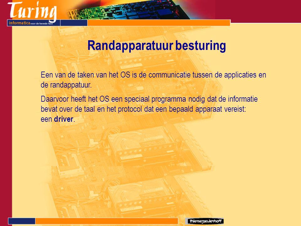 Randapparatuur besturing Een van de taken van het OS is de communicatie tussen de applicaties en de randappatuur. Daarvoor heeft het OS een speciaal p