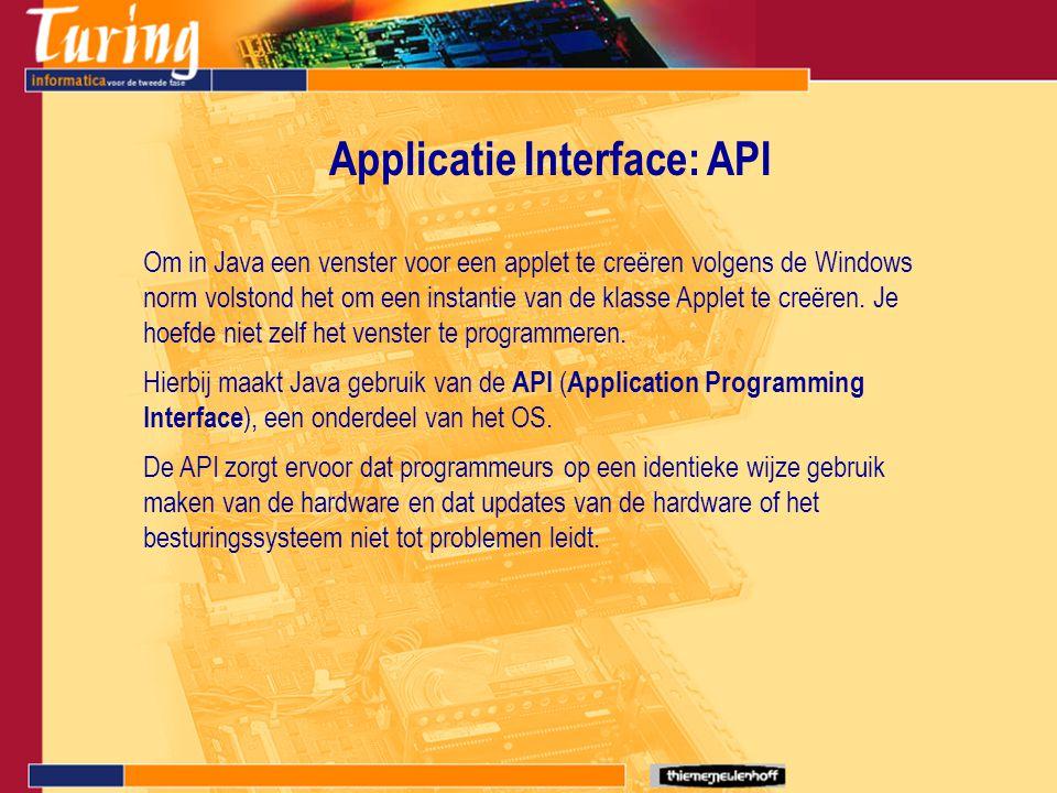 Applicatie Interface: API Om in Java een venster voor een applet te creëren volgens de Windows norm volstond het om een instantie van de klasse Applet