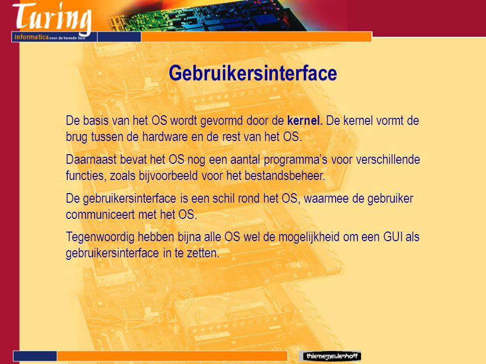 Gebruikersinterface De basis van het OS wordt gevormd door de kernel. De kernel vormt de brug tussen de hardware en de rest van het OS. Daarnaast beva