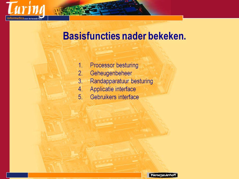 Basisfuncties nader bekeken. 1.Processor besturing 2.Geheugenbeheer 3.Randapparatuur besturing 4.Applicatie interface 5.Gebruikers interface