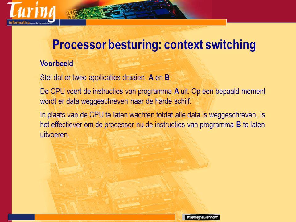 Processor besturing: context switching Voorbeeld Stel dat er twee applicaties draaien: A en B. De CPU voert de instructies van programma A uit. Op een