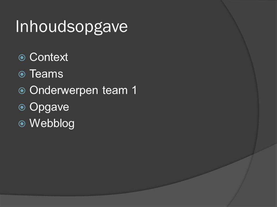 Inhoudsopgave  Context  Teams  Onderwerpen team 1  Opgave  Webblog