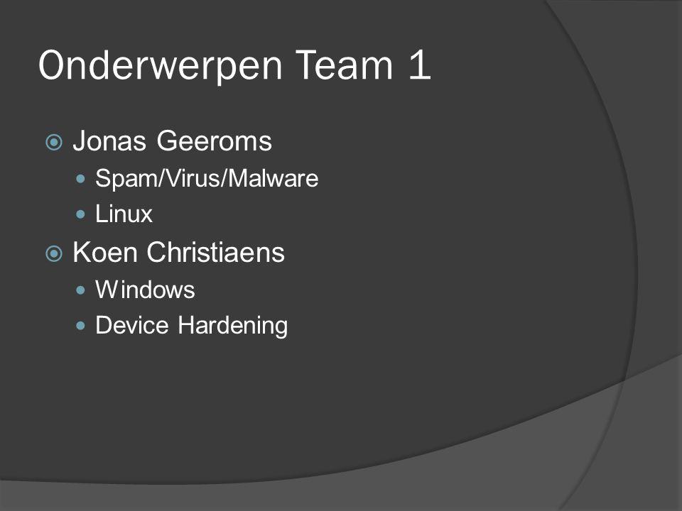 Onderwerpen Team 1  Jonas Geeroms Spam/Virus/Malware Linux  Koen Christiaens Windows Device Hardening