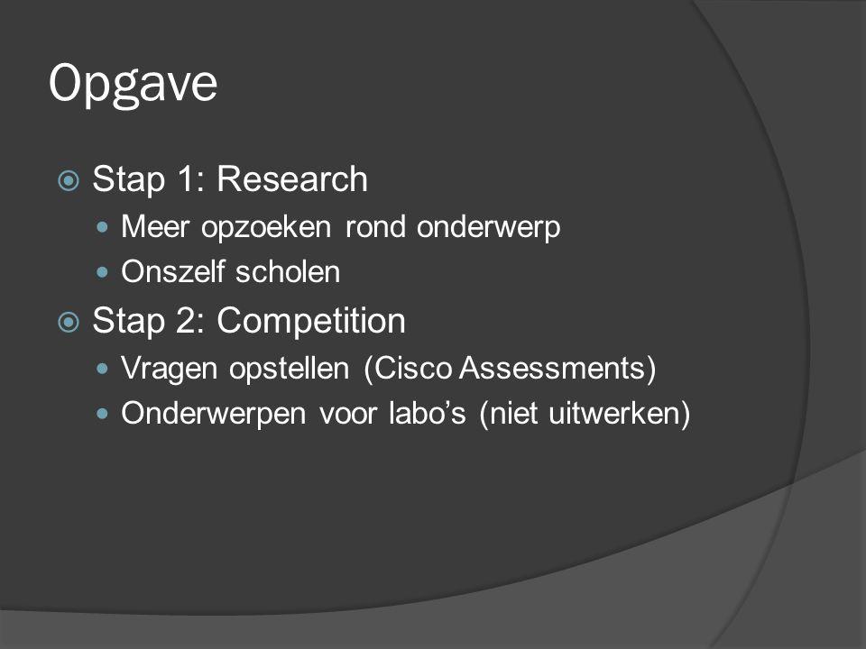 Opgave  Stap 1: Research Meer opzoeken rond onderwerp Onszelf scholen  Stap 2: Competition Vragen opstellen (Cisco Assessments) Onderwerpen voor labo's (niet uitwerken)