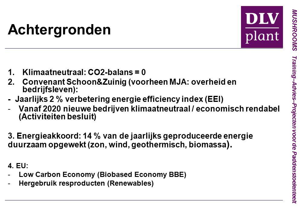 MUSHROOMS Training–Advies–Projecten voor de Paddenstoelenteelt Achtergronden 1.Klimaatneutraal: CO2-balans = 0 2.Convenant Schoon&Zuinig (voorheen MJA: overheid en bedrijfsleven): - Jaarlijks 2 % verbetering energie efficiency index (EEI) -Vanaf 2020 nieuwe bedrijven klimaatneutraal / economisch rendabel (Activiteiten besluit) 3.