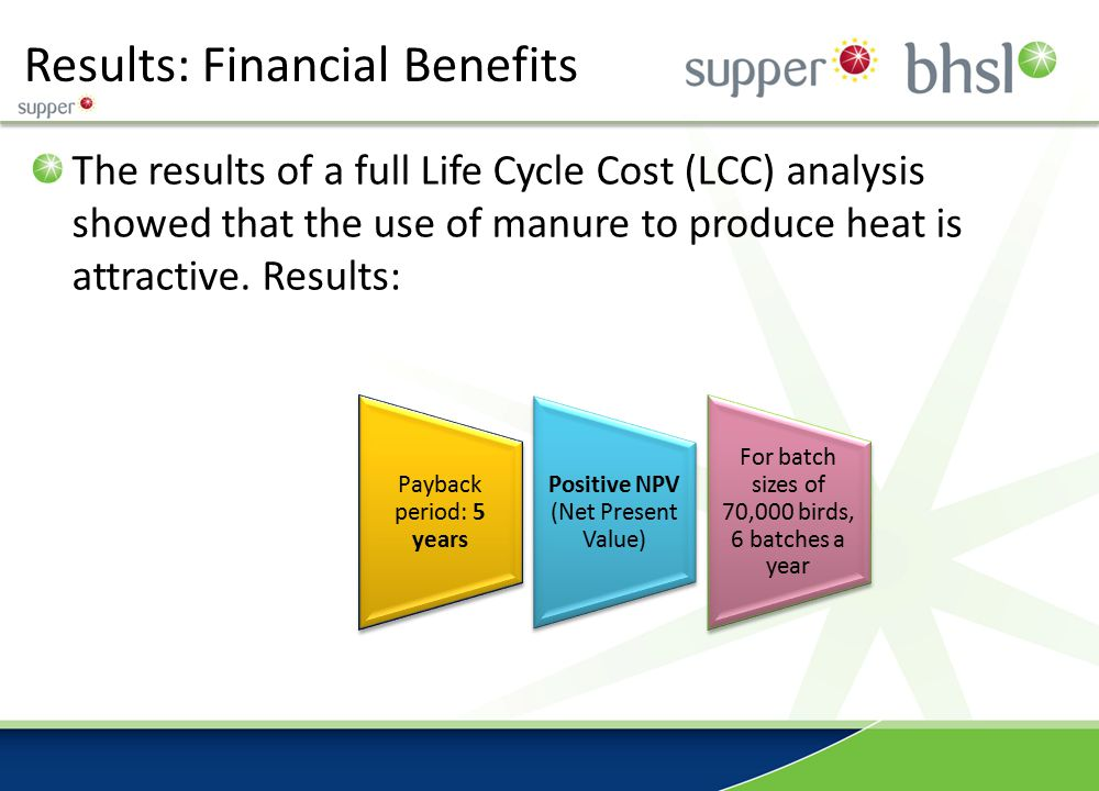 Results: Financial Benefits The results of a full Life Cycle Cost (LCC) analysis showed that the use of manure to produce heat is attractive. Results: