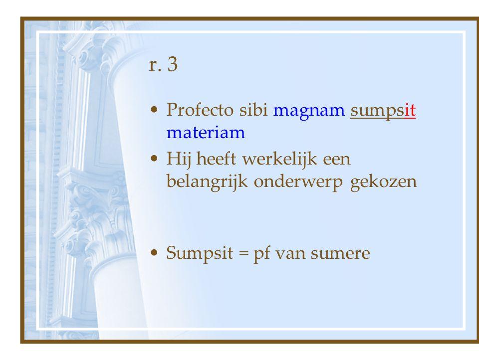 r. 3 Profecto sibi magnam sumpsit materiam Hij heeft werkelijk een belangrijk onderwerp gekozen Sumpsit = pf van sumere