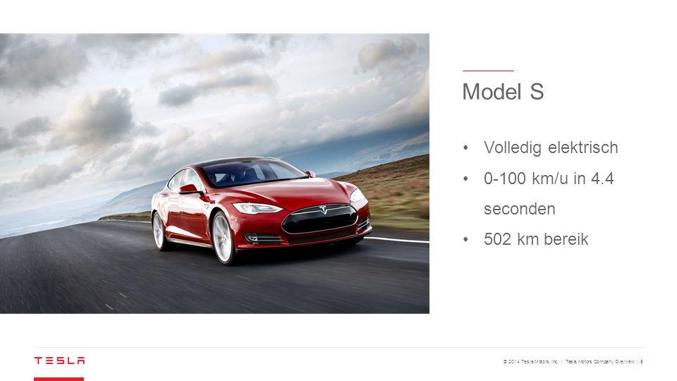 © 2014 Tesla Motors, Inc. | Tesla Motors Company Overview | 5 Volledig elektrisch 0-100 km/u in 4.4 seconden 502 km bereik Model S