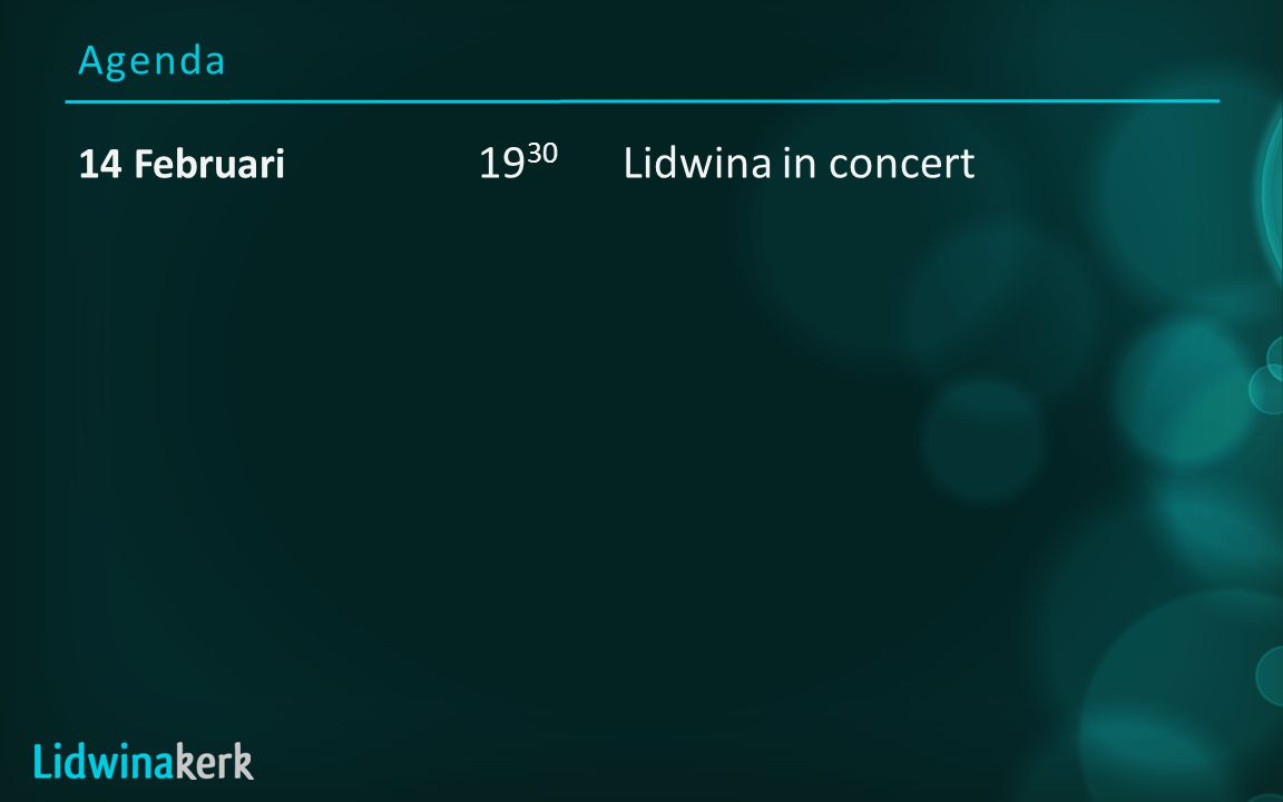 Agenda 14 Februari 19 30 Lidwina in concert