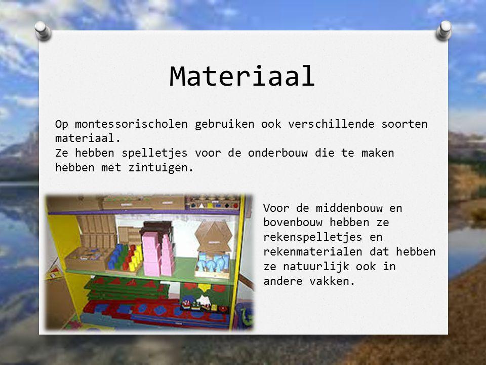 Materiaal Voor de middenbouw en bovenbouw hebben ze rekenspelletjes en rekenmaterialen dat hebben ze natuurlijk ook in andere vakken. Op montessorisch