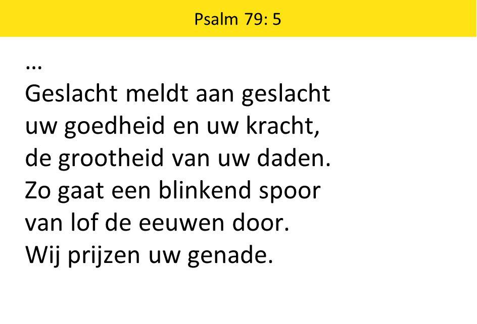 Psalm 79: 5 … Geslacht meldt aan geslacht uw goedheid en uw kracht, de grootheid van uw daden.