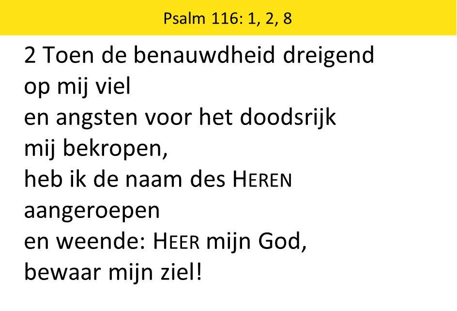 2 Toen de benauwdheid dreigend op mij viel en angsten voor het doodsrijk mij bekropen, heb ik de naam des H EREN aangeroepen en weende: H EER mijn God, bewaar mijn ziel.