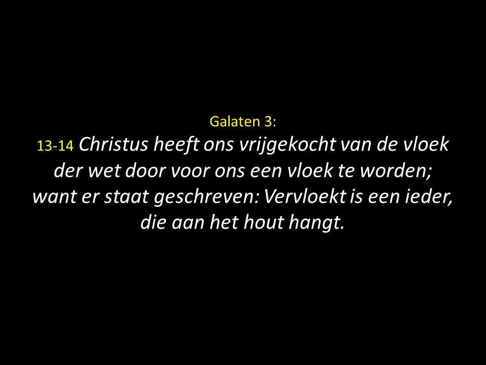Galaten 3: 13-14 Christus heeft ons vrijgekocht van de vloek der wet door voor ons een vloek te worden; want er staat geschreven: Vervloekt is een ied