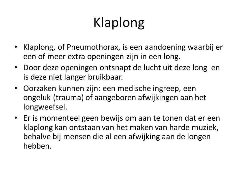 Klaplong Klaplong, of Pneumothorax, is een aandoening waarbij er een of meer extra openingen zijn in een long. Door deze openingen ontsnapt de lucht u