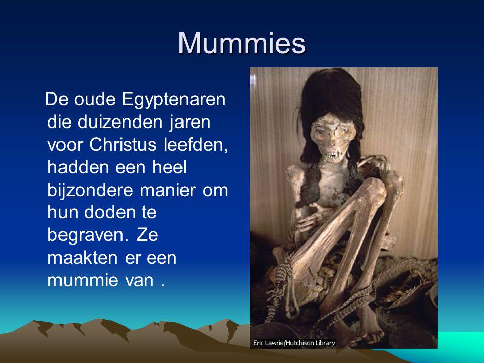 Mummies De oude Egyptenaren die duizenden jaren voor Christus leefden, hadden een heel bijzondere manier om hun doden te begraven. Ze maakten er een m