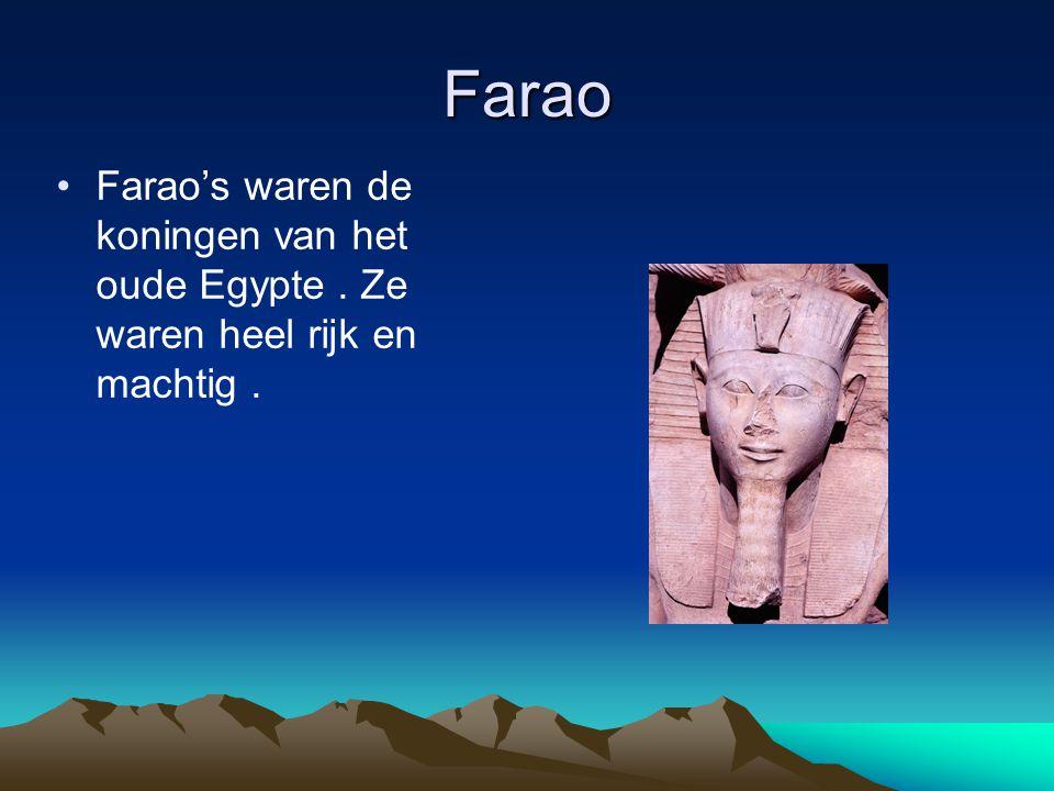 Farao Farao's waren de koningen van het oude Egypte. Ze waren heel rijk en machtig.