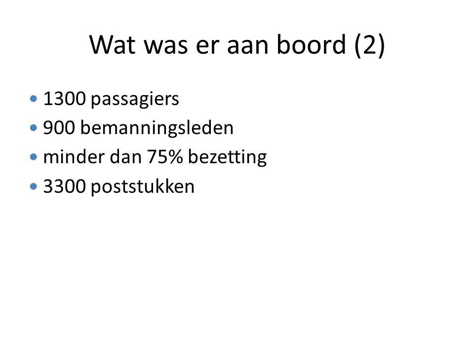 Wat was er aan boord (2) 1300 passagiers 900 bemanningsleden minder dan 75% bezetting 3300 poststukken