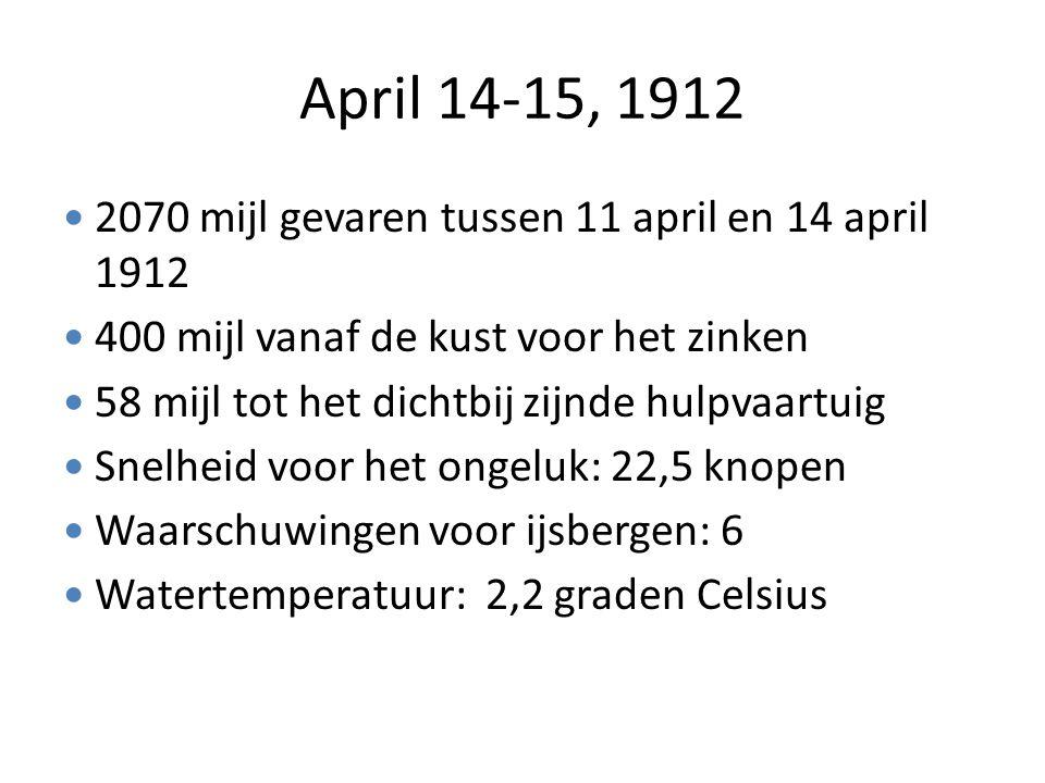 April 14-15, 1912 2070 mijl gevaren tussen 11 april en 14 april 1912 400 mijl vanaf de kust voor het zinken 58 mijl tot het dichtbij zijnde hulpvaartu