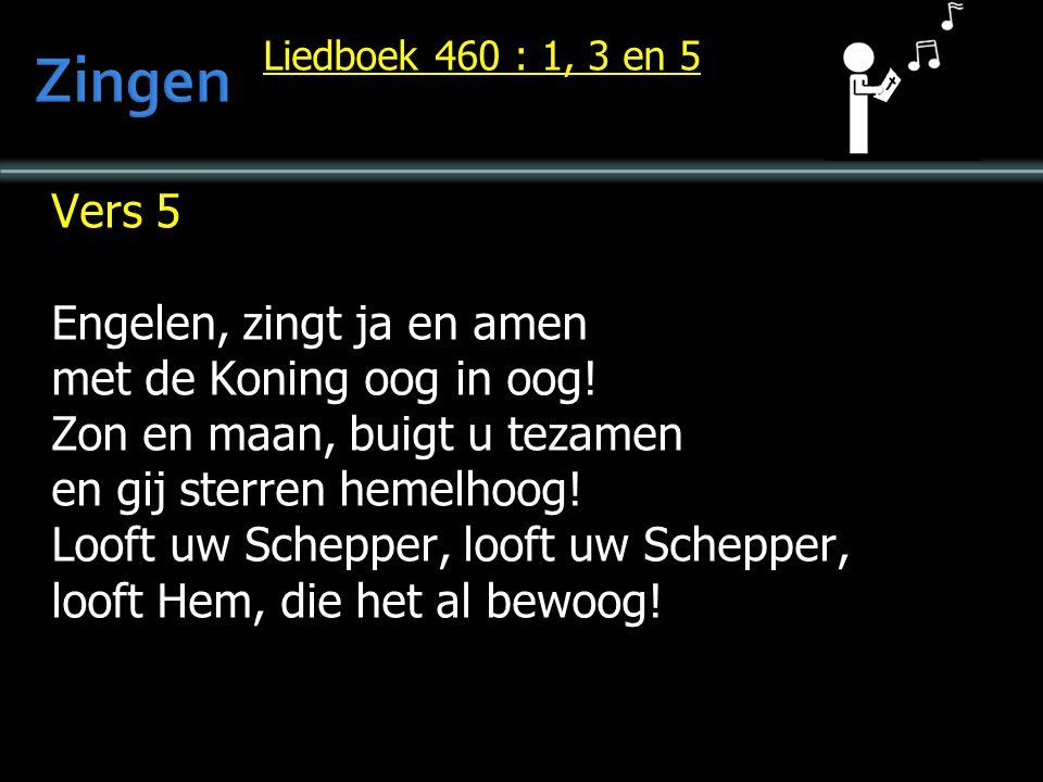 Liedboek 460 : 1, 3 en 5 Vers 5 Engelen, zingt ja en amen met de Koning oog in oog! Zon en maan, buigt u tezamen en gij sterren hemelhoog! Looft uw Sc