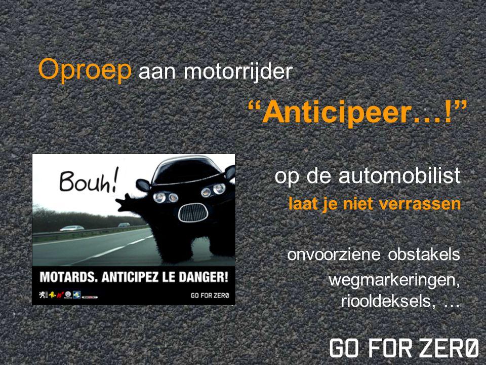 Oproep aan motorrijder Anticipeer…! op de automobilist laat je niet verrassen onvoorziene obstakels wegmarkeringen, riooldeksels, …