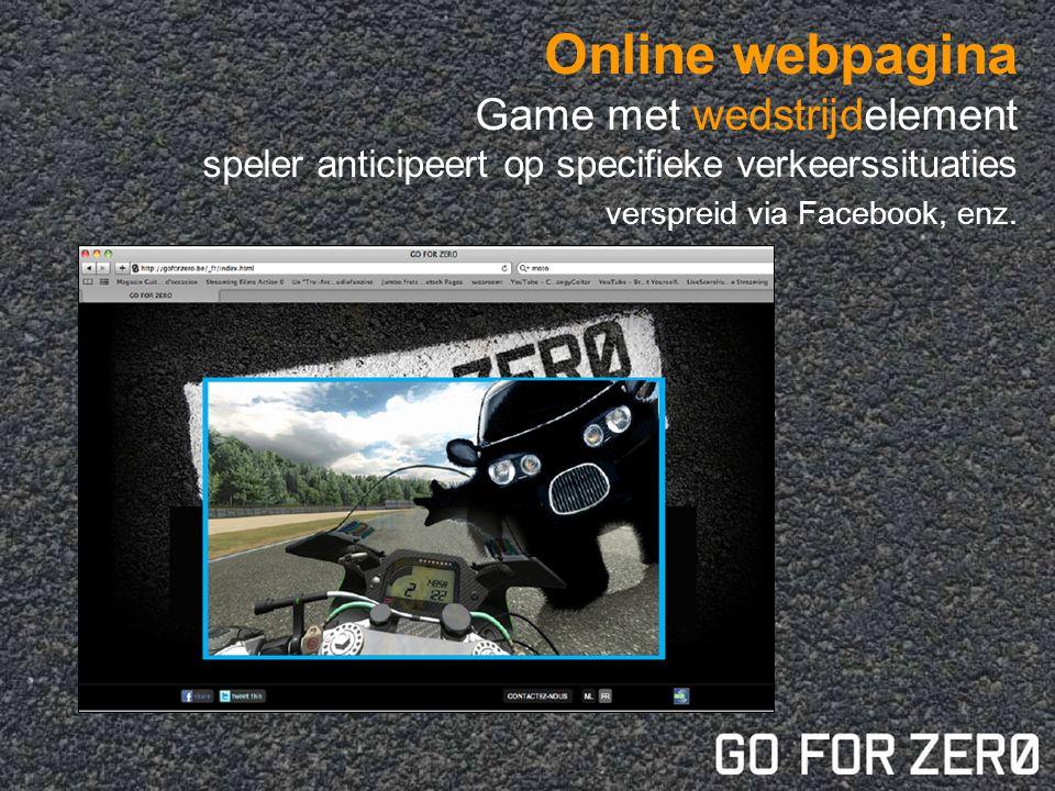 Online webpagina Game met wedstrijdelement speler anticipeert op specifieke verkeerssituaties verspreid via Facebook, enz.