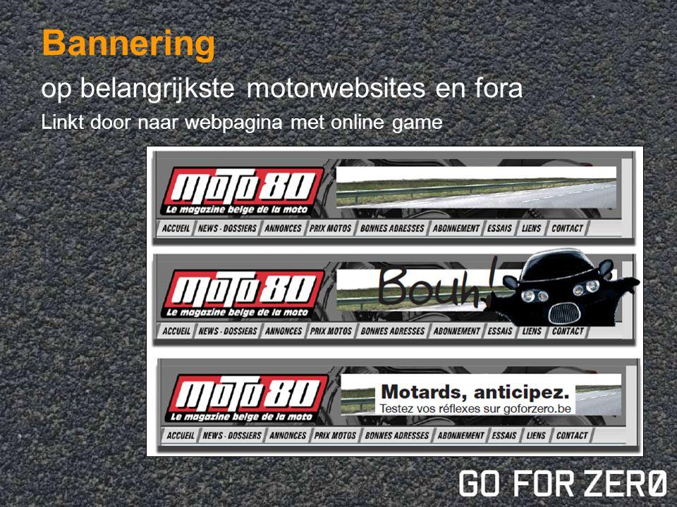 Bannering op belangrijkste motorwebsites en fora Linkt door naar webpagina met online game