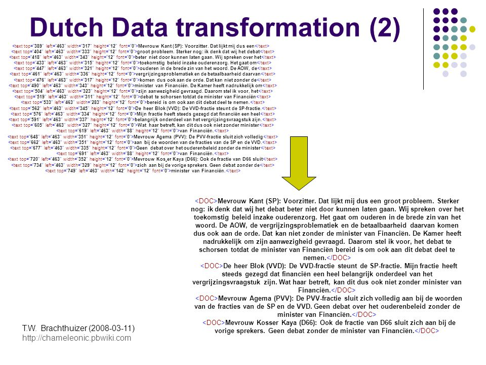 Schedule - Literature study - Transformation of source data - Evaluation of transformation step - Data to models - Models to expertise - Visualisation, clustering - Evaluation of the modelling step - Improvements implementation - (Search engine, other) T.W.
