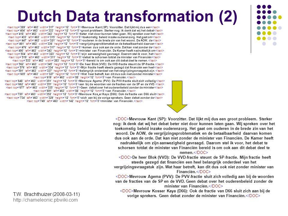 T.W. Brachthuizer (2008-03-11) http://chameleonic.pbwiki.com Dutch Data transformation (2) Mevrouw Kant (SP): Voorzitter. Dat lijkt mij dus een groot