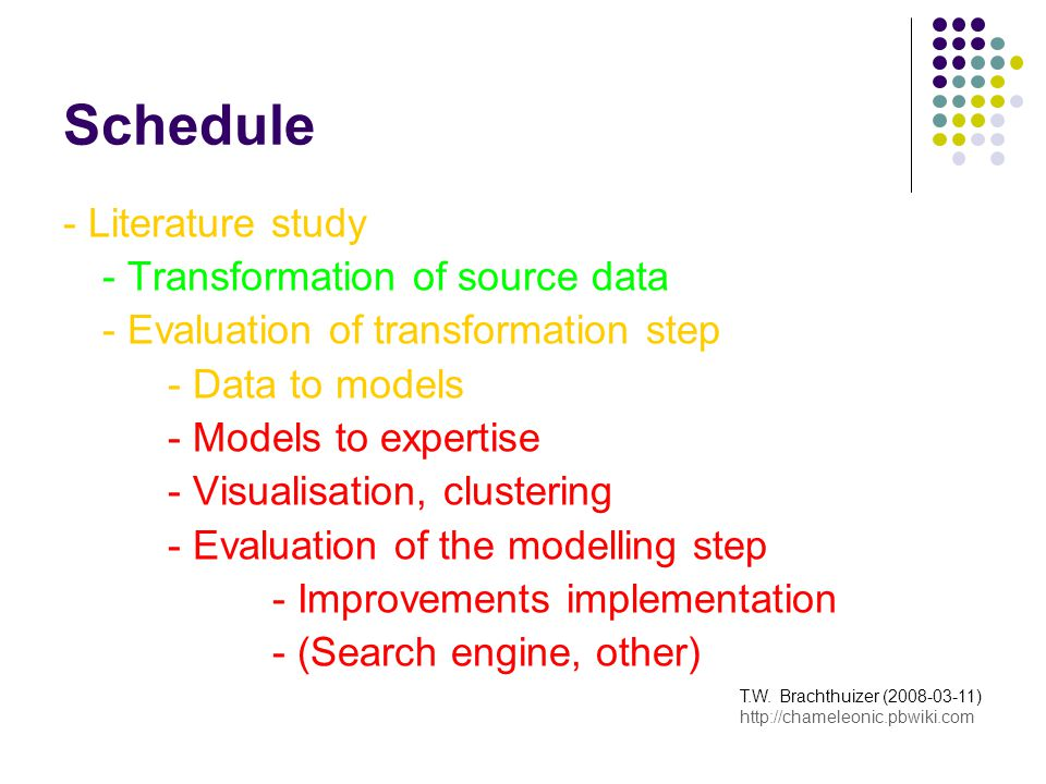 Risc Analysis Efficiency (Complexity) Effectiveness Black box design (3 rd parties) Dutch data set Practical usability T.W.