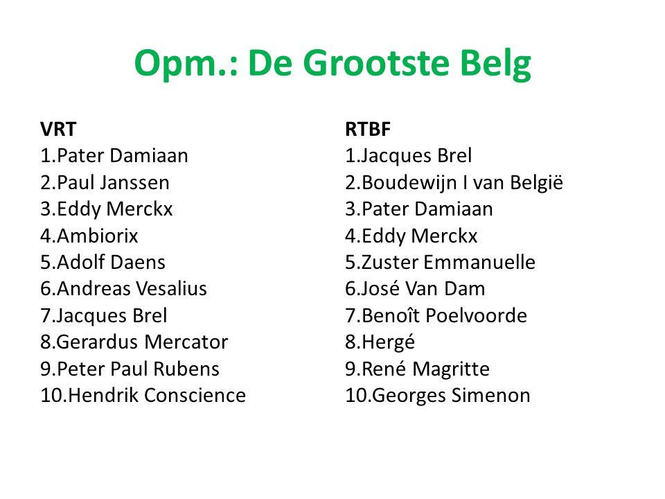 Opm.: De Grootste Belg VRT 1.Pater Damiaan 2.Paul Janssen 3.Eddy Merckx 4.Ambiorix 5.Adolf Daens 6.Andreas Vesalius 7.Jacques Brel 8.Gerardus Mercator