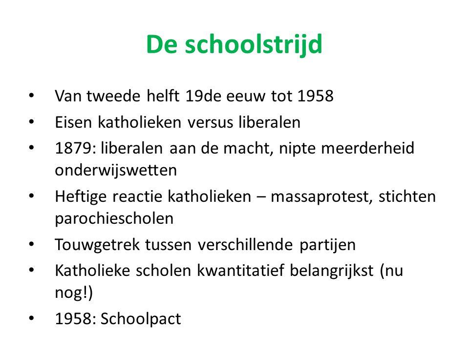 De schoolstrijd Van tweede helft 19de eeuw tot 1958 Eisen katholieken versus liberalen 1879: liberalen aan de macht, nipte meerderheid onderwijswetten