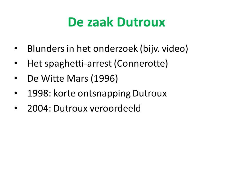 Blunders in het onderzoek (bijv. video) Het spaghetti-arrest (Connerotte) De Witte Mars (1996) 1998: korte ontsnapping Dutroux 2004: Dutroux veroordee