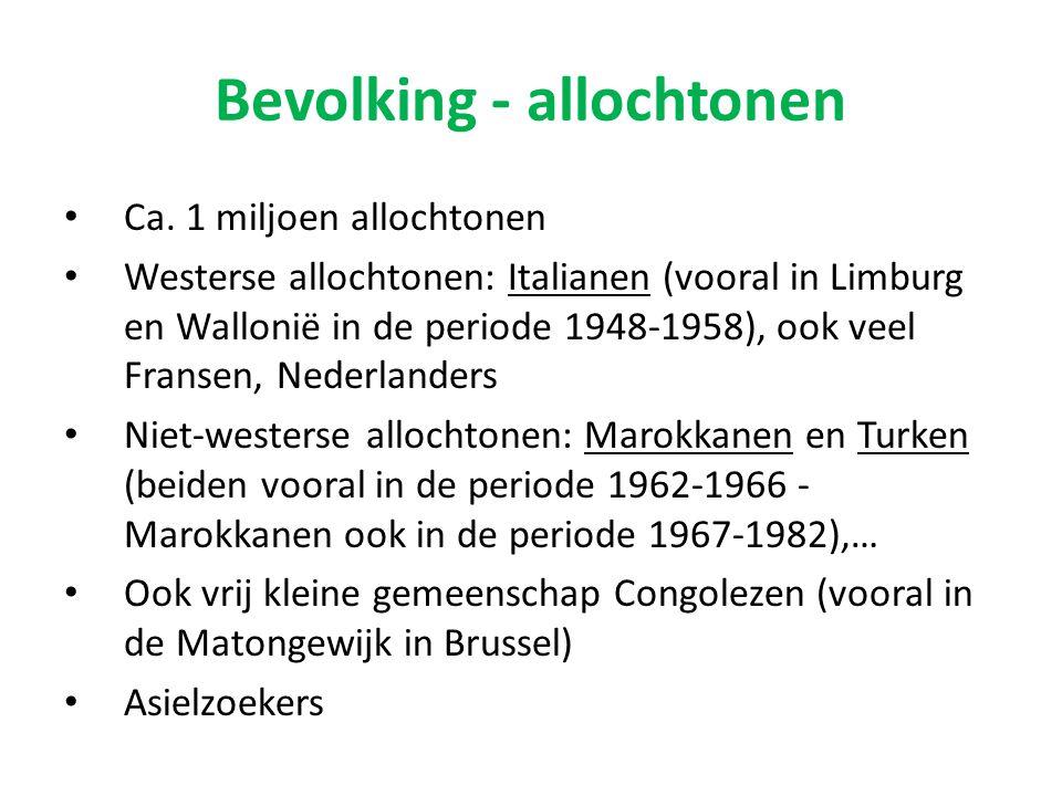 Bevolking - allochtonen Ca. 1 miljoen allochtonen Westerse allochtonen: Italianen (vooral in Limburg en Wallonië in de periode 1948-1958), ook veel Fr