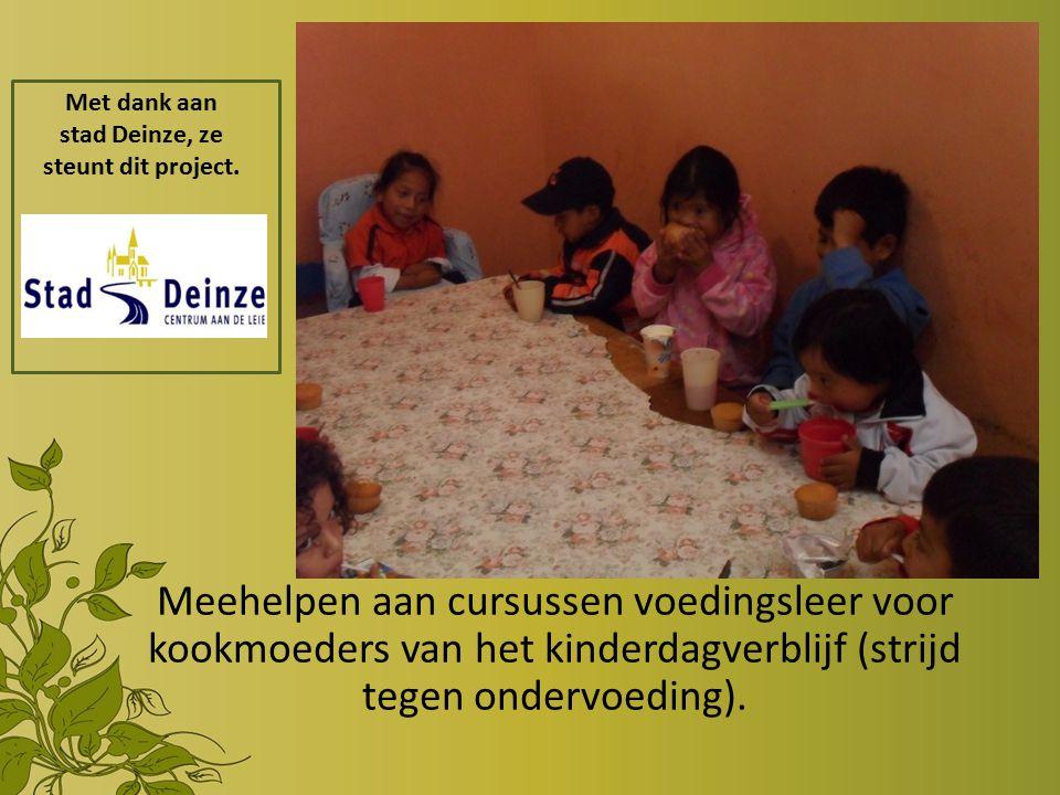 Meehelpen aan cursussen voedingsleer voor kookmoeders van het kinderdagverblijf (strijd tegen ondervoeding).