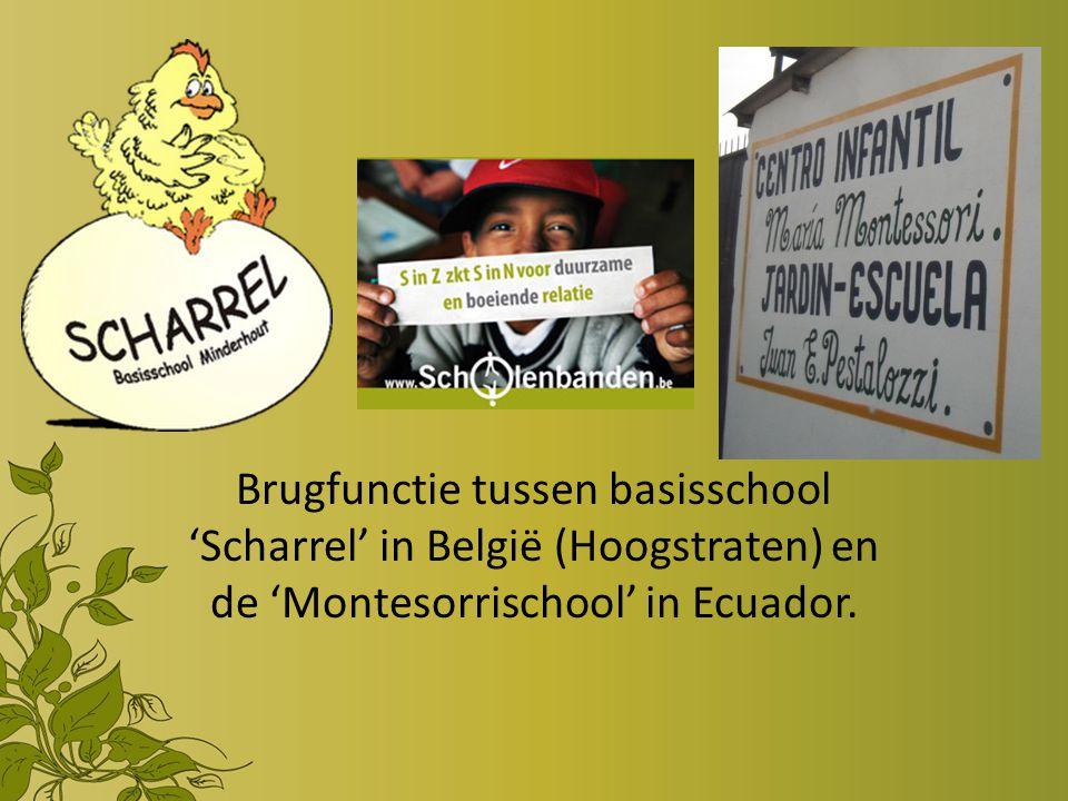Brugfunctie tussen basisschool 'Scharrel' in België (Hoogstraten) en de 'Montesorrischool' in Ecuador.