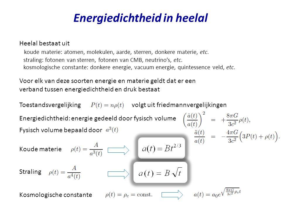 Energiedichtheid in heelal Heelal bestaat uit koude materie: atomen, molekulen, aarde, sterren, donkere materie, etc.