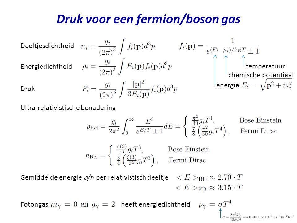 Druk voor een fermion/boson gas Deeltjesdichtheid Energiedichtheid Ultra-relativistische benadering Gemiddelde energie  /n per relativistisch deeltje Fotongas heeft energiedichtheid Druk energie temperatuur chemische potentiaal