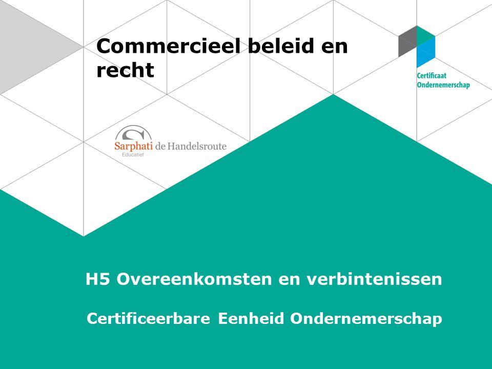 Commercieel beleid en recht H5 Overeenkomsten en verbintenissen Certificeerbare Eenheid Ondernemerschap