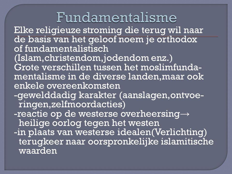 Elke religieuze stroming die terug wil naar de basis van het geloof noem je orthodox of fundamentalistisch (Islam,christendom,jodendom enz.) Grote ver